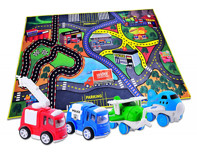 4 Play Vehicles & Large Playmat Set Pull Back & Friction Powered Toys for age 3+