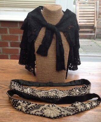 Victorian/Edwardian belts/gold&silver metal thread embroidery+Lace Capelet Shawl