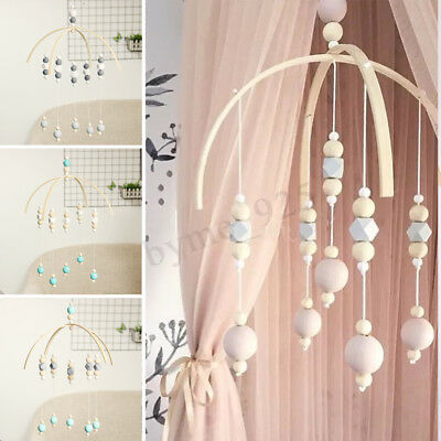 Baby Crib Mobile Bed Bell DIY Toy Holder Arm Bracket Wind-up Wooden Beads 6Kinds