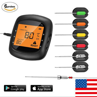 BBQ Digital Bluetooth Wireless Meat Thermometer With 6 Probes Dual Probes Food