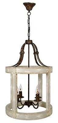 NEW FRENCH EUROPEAN WEATHERED OLD WORLD 4 Lights IRON WOOD PENDANT CHANDELIER