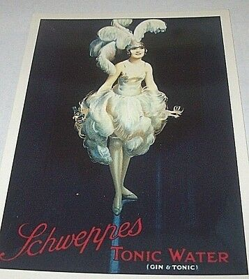 Vintage Schweppes Toni Water Advertising Reproduction Art Deco Postcard