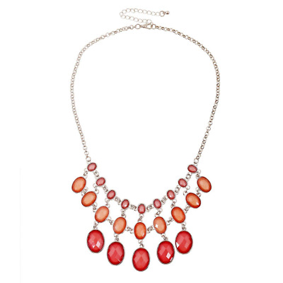 "Necklace Red Coral Resin Stone Bib Chunky Fashion Jewelry Statement Party 18"" US"