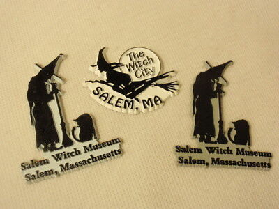 Lot of 3 Salem Massachusetts Witch Museum City Rubber Refrigerator Magnets