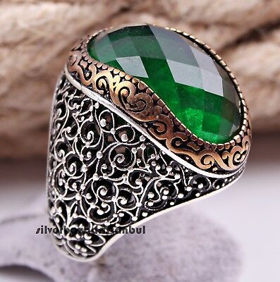 Turkish 925 Sterling Silver Heavy Green Emerald stone Mens man ring ALL SİZE us