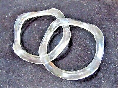 Lot Of Two Wavy Clear Lucite Trendy Bangle Bracelets Funky Stackable Vintage
