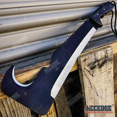 "20"" Survival Hunting Zombie Sword Guthook Flat Head Machete Hatchet Camping Gear"