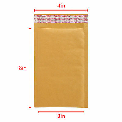 100x #000 4x8 Mailing Kraft Bubble Mailers Padded Envelopes Bags 3x8