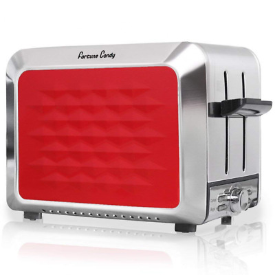 Stainless Steel 2-Slice Bagel Toaster, Wide Extra Slot, Red 2 Slice NEW US SHIP