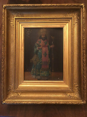 RARE ANTIQUE EARLY 19th CENTURY RUSSIAN ORTHODOX ICON of St THEODOSIUS