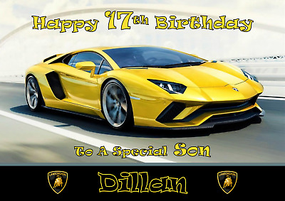 Lamborghini personalised A5 birthday card son daughter grandson nephew name age
