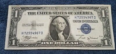 1935 B $1 Dollar Bill Old Us Paper Money Currency Blue Seal Note Real Nice!