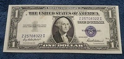 1935 F $1 Dollar Bill Old Us Paper Money Currency Blue Seal Note Real Nice!