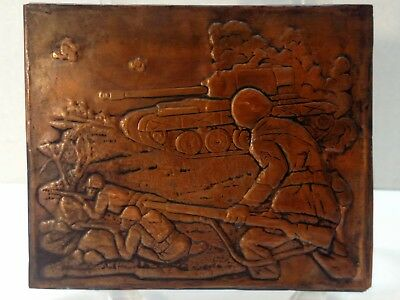 3D Hammered Copper Embossed Tile w/Template Vintage Military Tank Soldiers CC