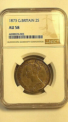 1873 GOTHIC SILVER FLORIN  UK (Great Britain) MDCCCLXXIII FLORIN NGC AU58 #702G
