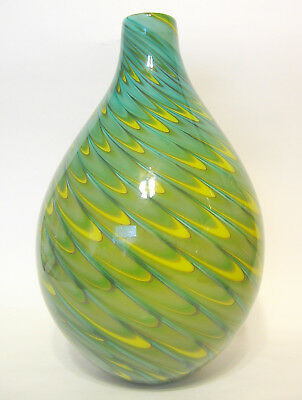 Hand Blown Cased Glass Vase Blue Green Yellow Feathered 9 to 10 Inch Unsigned