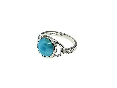 Larimar Beautiful 10mm 3.5ct Natural Solid .925 Sterling Silver Ring Size 7