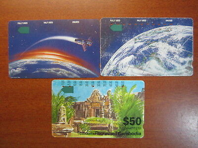 Phonecards Rare Telstra $2 used $5 Mint $50 used Cambodia phonecard