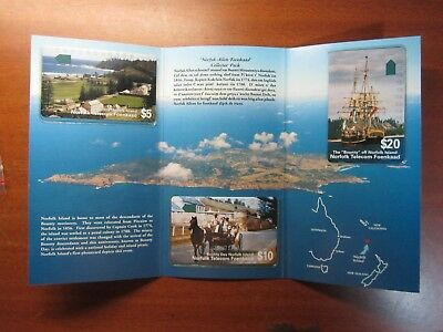 Norfolk Island Telecom 1st Issue Limited Edition 3 Phonecard Pack Mint no 4723