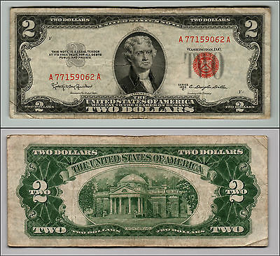 1953C $2 Dollar Bill Old Us Note Legal Tender Paper Money Currency Red Seal Q873