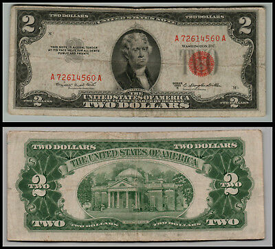 1953C $2 Dollar Bill Old Us Note Legal Tender Paper Money  Red Seal  Lot 0677