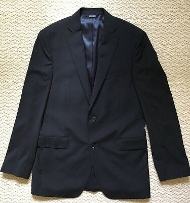 Saks Fifth Avenue Modern Wool Sportcoat Blazer 40L Black *Free Ship* 85% Off