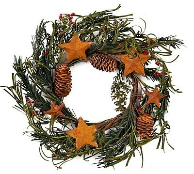 """4"""" Pine Cones, Red Primitive Holly Berries Candle Rings with Rusty Stars R37-4"""