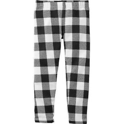 Carters Girls Black White Buffalo Check Lined Pants Leggings Toddler size 3T NWT