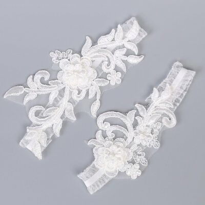 2pcs Flower Wedding Hen Party Bride To Be Lace Bridal Garter Legs Ring  Accessory.