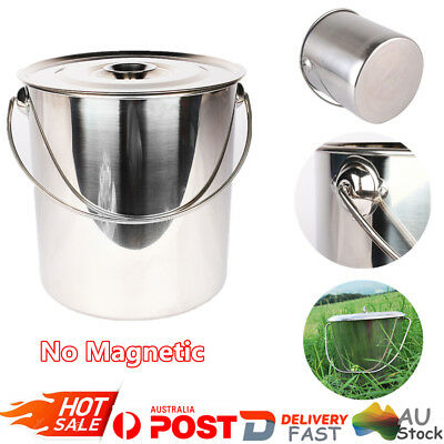 Stainless Steel Bucket with Handle High Quality Storage Pail Water Soup Pot 2PCS