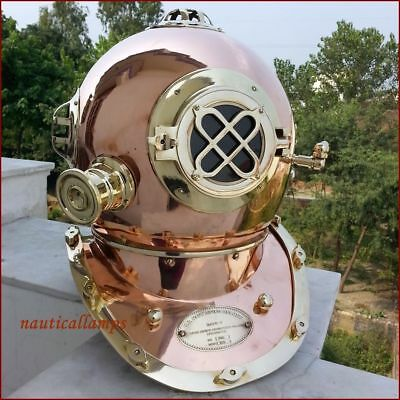 Collectible Full Size Nautical Iron Divers Nickel Plated Diving Helmet Mark Iv