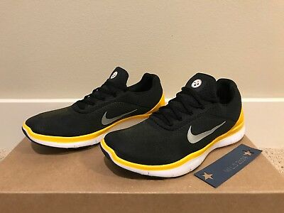 168508672979 NIKE PITTSBURGH STEELERS Free Trainer V7 Shoe-Blk Chrm Gld-Men s 8.5 ...