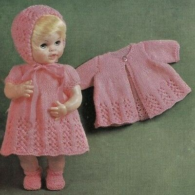 Dolls Knitting Pattern Pink Outfit Copy size 14 and 16 inch 4 ply