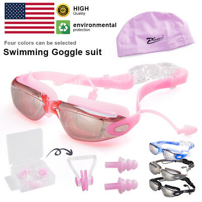 1Set UV Anti-Fog Adult Swimming Goggles Swim Cap Ear Plug Nose Clip US Free Ship