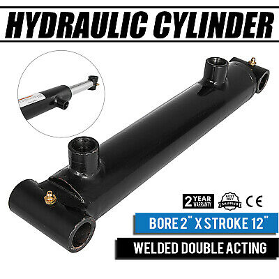 "Hydraulic Cylinder  2"" Bore 12"" Stroke Double Acting Black 3000psi Construction"