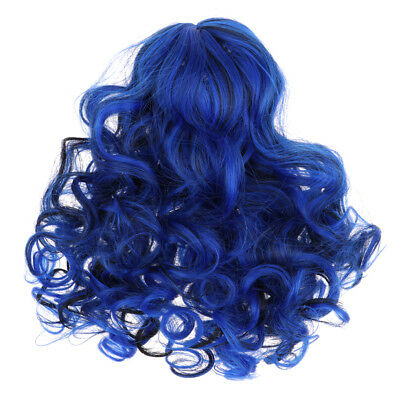 "Doll Making Supplies - Blue Long Curly Hair Wig - DIY for 18"" American Girl"