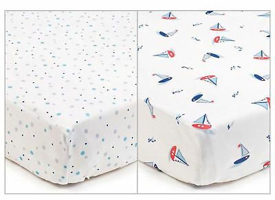 Breathable Baby SUPER DRY COT SHEETS 2 PACK - BY THE SEA Hypoallergenic BN
