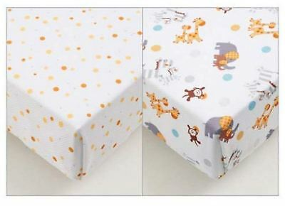Breathable Baby SUPER DRY COT SHEETS 2 PACK - ANIMAL 2 BY 2 Hypoallergenic - NEW