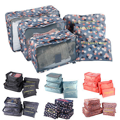 6PCS Clothes Storage Bags Packing Cube Travel Luggage Organizer Bag Waterproof