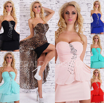 Sexy Mullet Cocktail Dress Evening Party Special Occasion Rhinestone Chiffon S M