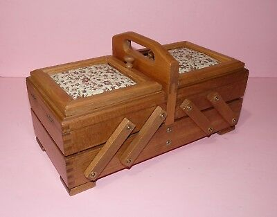 2 Tier Oak Wood Sewing Basket / Box With Tapestry Tops