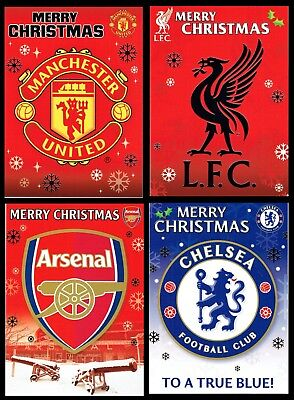 Official FOOTBALL CLUB - CHRISTMAS CARD ~ Arsenal, Chelsea Liverpool Man United