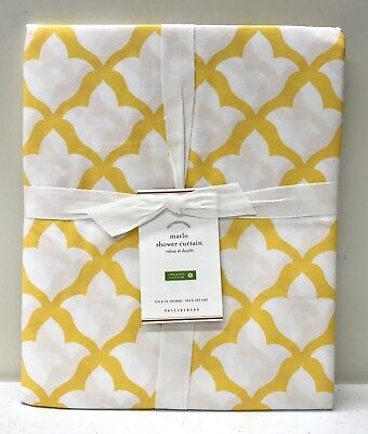 NEW Pottery Barn Organic Marlo Moroccan Tile Shower Curtain~MARIGOLD YELLOW