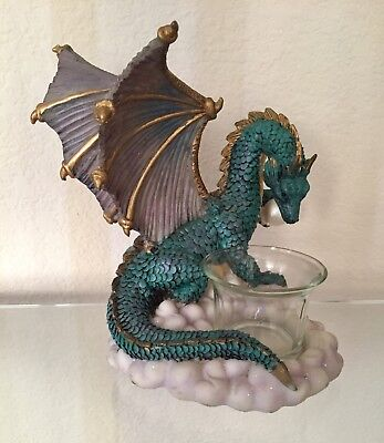 Green and Purple Dragon Candle Holder Figurine Statue