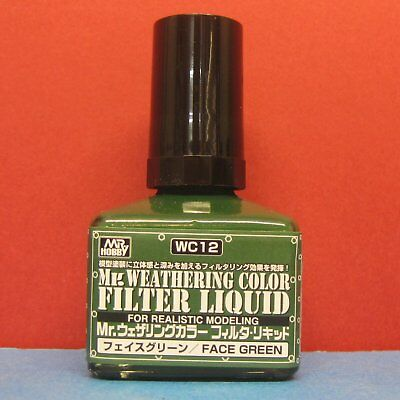 Mr Hobby #WC12 Mr Weathering Color for Realistic Modeling Filter Liquid [Green]