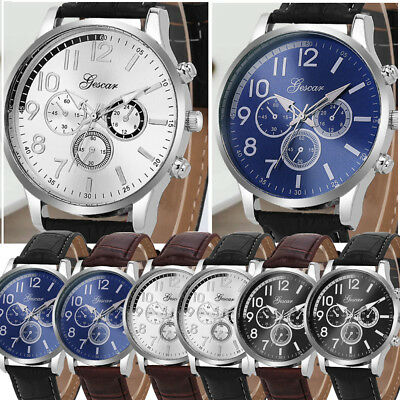 Men's Glass Mirror Personality Business Military Circular Alloy Dial Watch CA
