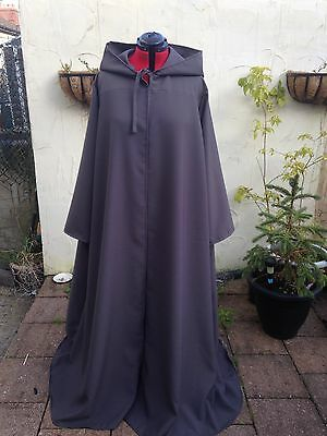 long hooded cloak with sleeves  dark grey (t56)