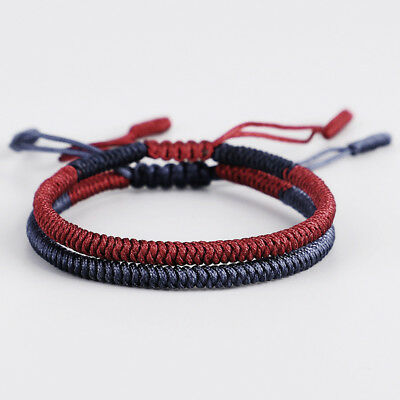 Men Women Handmade Buddhist Braided Bracelet Lucky Knot Rope Adjustable Bangle