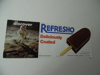 1971 REFRESHO Ice Cream Paper Sign NASA Astronaut Popsicle Industries Vintage VG