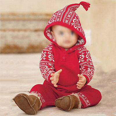 Long Sleeve Rompers Jumpsuits Hooded Cotton Red Winter Casual Hoodie Playsuit